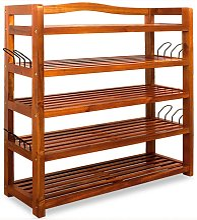 Wooden Shoe Rack 5 Tier Storage Cabinet Wood Shelf