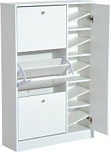 Wooden Shoe Rack Modern Storage Cabinet w/ 4 Doors