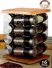 Wooden Spice Rack, Includes 16 Jars- Bamboo