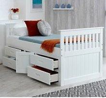 Wooden Storage Bed Frame 3ft Single Captains White