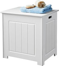 Wooden Storage Stool / Laundry Bin - White