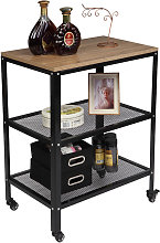 Wooden Storage Trolley with Metal Frame,
