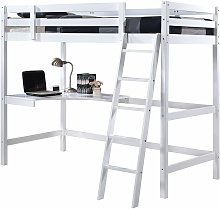 Wooden Study 3FT Bunk Bed Frame with Desk in White