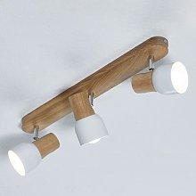 Wooden Svantje ceiling light, 3-bulb