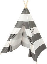 Wooden Teepee Tent for Kids Gray and White Stripes