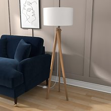 Wooden Tripod Standing Floor Lamp with White Shade