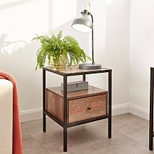 Wooden Two Tone Mango Side Lamp Table Storage