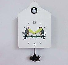 Wooden Wall Clock White Bird House Antique