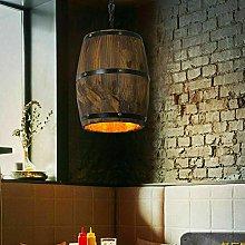 Wooden Wine Barrel Pendant Lighting Country Loft