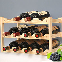 Wooden Wine Rack Storage Shelf 12 Bottles 3 Layers