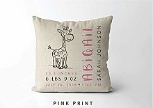 Woodland Nursery Giraffe Birth Stats Pillow Birth