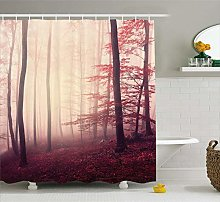Woodland Shower Curtain Fantasy Marsala Color