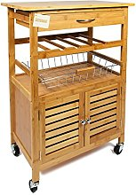 Woodluv Bamboo Kitchen Trolley Cart with