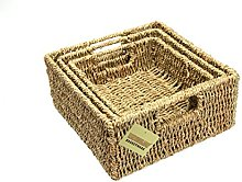 Woodluv Brand New Set Of 3 Square Storage Seagrass