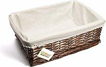 woodluv Brown Wicker Storage Basket W/Off White