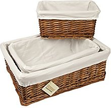 woodluv Brown Wicker Storage Basket with Lining,