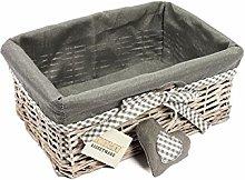 Woodluv Grey Wicker Rectangular Storage Gift