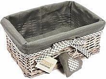 Woodluv Grey Wicker Storage Gift Hamper Shelf