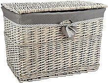 Woodluv Large Grey Wicker Storage Basket, Storage