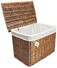 Woodluv Lrg Brown Wicker Storage Basket Trunk