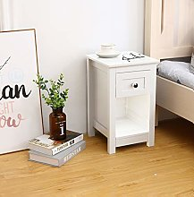 Woodluv MDF Bedside Table with Drawer and Shelf