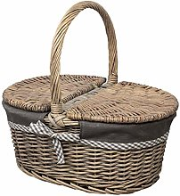 woodluv Oval Antique Wash Willow Wicker Picnic