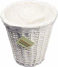 woodluv Round White Wicker Waste Paper