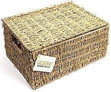 woodluv SEAGRASS STORAGE BASKET BOX WITH LID