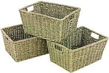 woodluv Seagrass Storage Shelf Basket with Insert