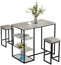 WOODYHOME Bar Height Dining Table Set W/2 Stools &