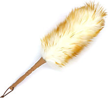 Wool Duster with Solid Wood Handle Flexible Head