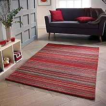 Wool Rug Red Natural HANDWOVEN Carpet for Living