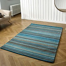 Wool Rug Teal Blue Natural HANDWOVEN Carpet for