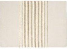 Wool rug with ecru jute stripes 140x200cm