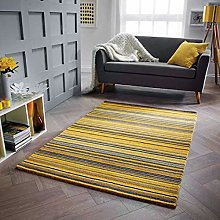 Wool Rug Yellow Ochre Natural HANDWOVEN Carpet for