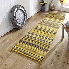 Wool Runner Rug Yellow Ochre Natural HANDWOVEN