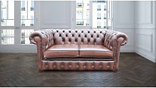 Worden Genuine Leather 2 Seater Chesterfield Sofa