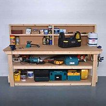 Work Bench with Back Panel 7Ft + Shelf - MDF Light