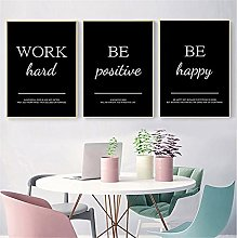 Work Hard Be Positive Be Happy Motivational Canvas
