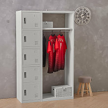 Work Locker 5-Door Metal Lockable Wardrobe Cabinet
