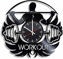Workout Sports Vinyl Wall Clock Retro Vinyl Record