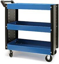 Workshop Tool Cart with Handle, 3 Storage Trays