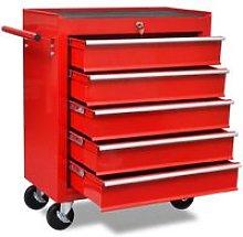 Workshop Tool Trolley 5 Drawers Red - Red - Vidaxl