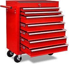 Workshop Tool Trolley 7 Drawers Red - Red - Vidaxl
