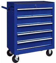 Workshop Tool Trolley with 5 Drawers Blue
