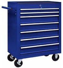 Workshop Tool Trolley with 7 Drawers Blue
