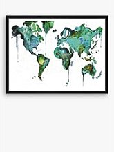 World - Abstract Map Framed Print & Mount, 81 x