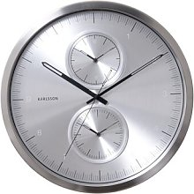 World Class 50cm Wall Clock Karlsson Colour: Silver