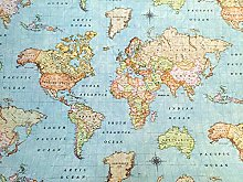 WORLD MAP 3 Designer Cotton Fabric Material - for