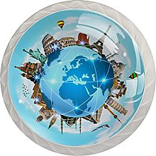 World Map 4PCS Round Shape Cabinet Knobs for